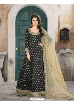 Carbon Taffeta Silk Embroidered Floor Length Suit
