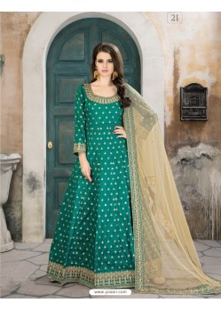 Teal Taffeta Silk Embroidered Floor Length Suit