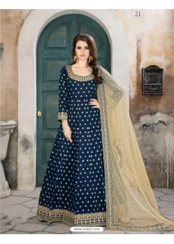 Blue Taffeta Silk Embroidered Floor Length Suit