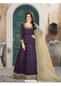 Purple Taffeta Silk Embroidered Floor Length Suit
