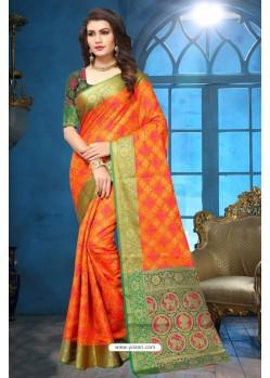 Orange Patola Jacquard Silk Saree