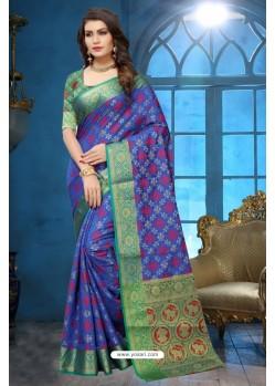 Dark Blue Patola Jacquard Silk Saree