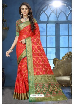 Peach Patola Jacquard Silk Saree