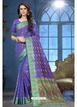 Royal Blue Patola Jacquard Silk Saree