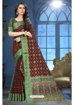 Black Patola Jacquard Silk Saree