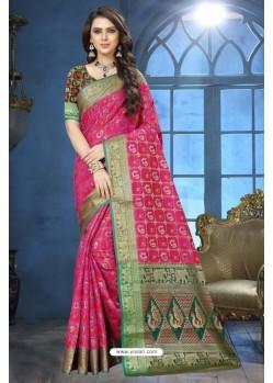 Rani Patola Jacquard Silk Saree