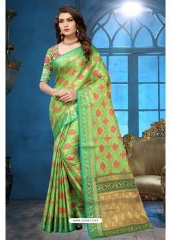 Parrot Green Patola Jacquard Silk Saree