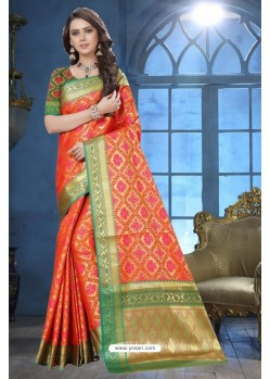 Orange Patola Jacquard Silk Saree