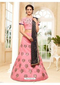 Peach Silk Embroidered Lehenga Choli