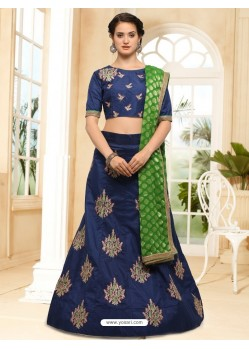 Dark Blue Silk Embroidered Lehenga Choli