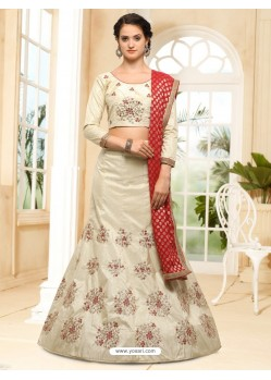 Off White Silk Embroidered Lehenga Choli
