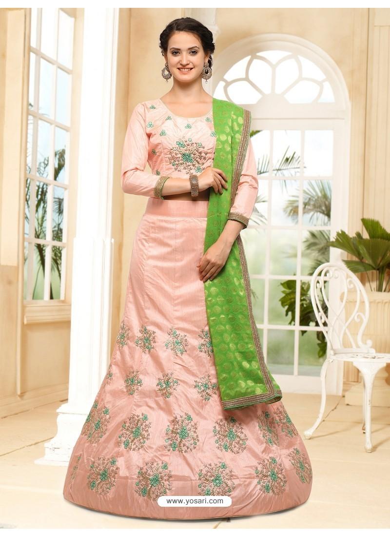 b32a319beb9 Buy Baby Pink Silk Embroidered Lehenga Choli
