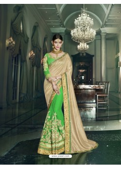 Parrot Green Art Silk Embroidered Saree