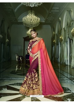 Wine Satin Silk Embroidered Saree