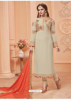 Off White Georgette Embroidered Suit