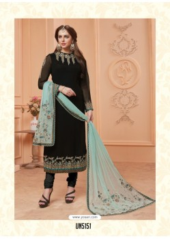 Black Georgette Embroidered Suit