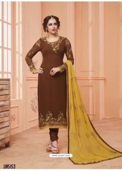 Brown Georgette Embroidered Suit