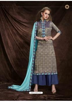 Blue Banarasi Silk Jacquard Embroidered Suit