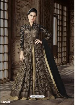 Golden Net Embroidered Floor Length Suit