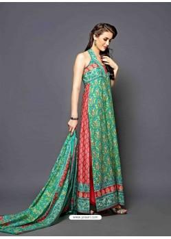 Green And Pink Lawn Cotton Salwar Kameez