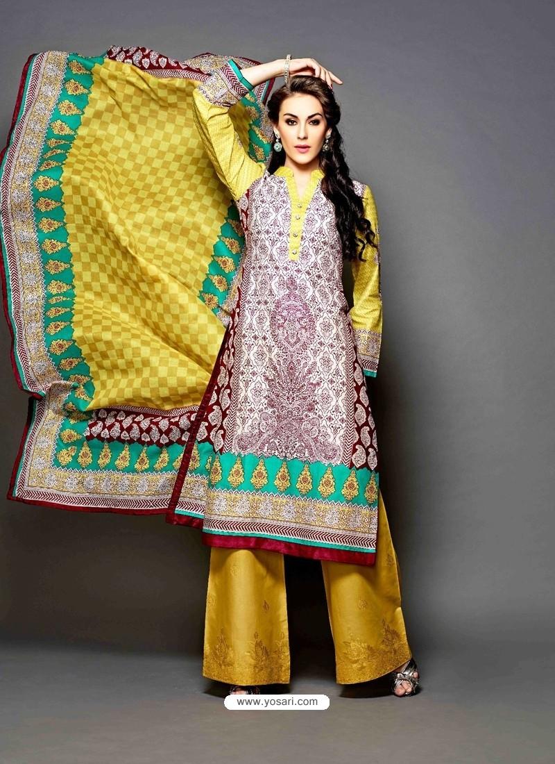 3918f5b9ec Mustard Lawn Cotton Pakistani Suit | Punjabi Suit online