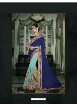 Turquoise Georgette Embroidered Saree