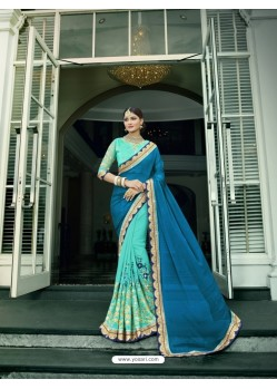 Aqua Blue Chiffon Embroidered Saree