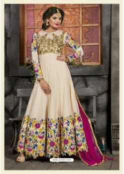 Off White Net Embroidered Floor Length Suit