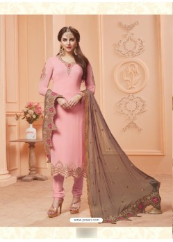 Baby Pink Georgette Embroidered Suit