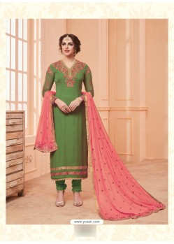 Mehendi Georgette Embroidered Suit