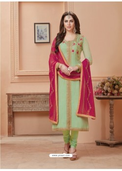 Sea Green Georgette Embroidered Suit