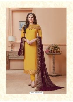 Yellow Georgette Embroidered Suit
