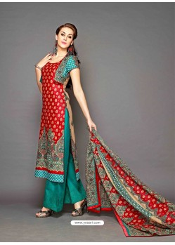 Red And Green Lawn Cotton Pakistani Suit