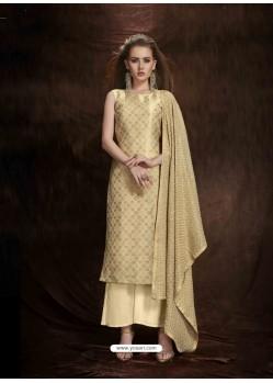 Beige Banarasi Silk Jacquard Embroidered Suit