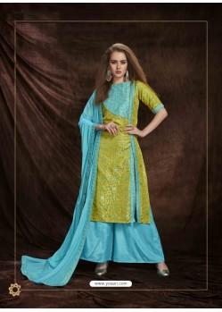 Firozi Banarasi Silk Jacquard Embroidered Suit
