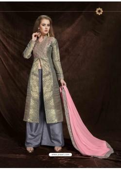 Grey Banarasi Silk Jacquard Embroidered Suit