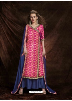 Fuchsia Banarasi Silk Jacquard Embroidered Suit