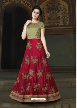 Crimson Art Silk Embroidered Floor Length Suit