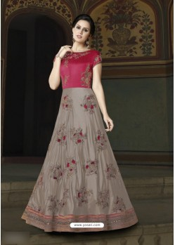 Dusty Pink Art Silk Embroidered Floor Length Suit