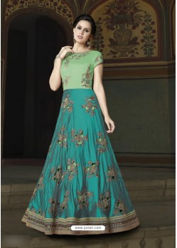 Turquoise Art Silk Embroidered Floor Length Suit