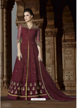 Deep Wine Net Embroidered Floor Length Suit