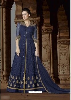 Navy Blue Net Embroidered Floor Length Suit