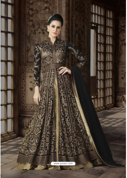Golden Net Embroidered Floor Length Suit