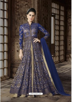 Blue Net Embroidered Floor Length Suit