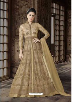 Beige Net Embroidered Floor Length Suit