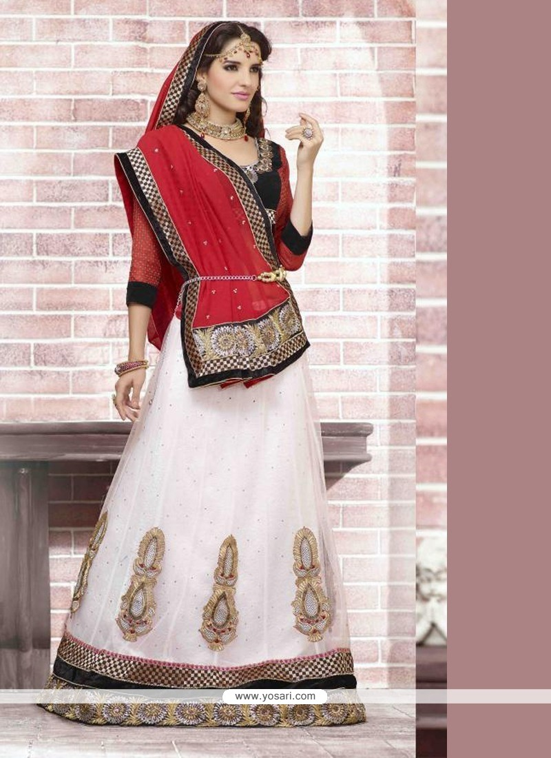 Off White And Red Net Georgette Wedding Lehenga Saree