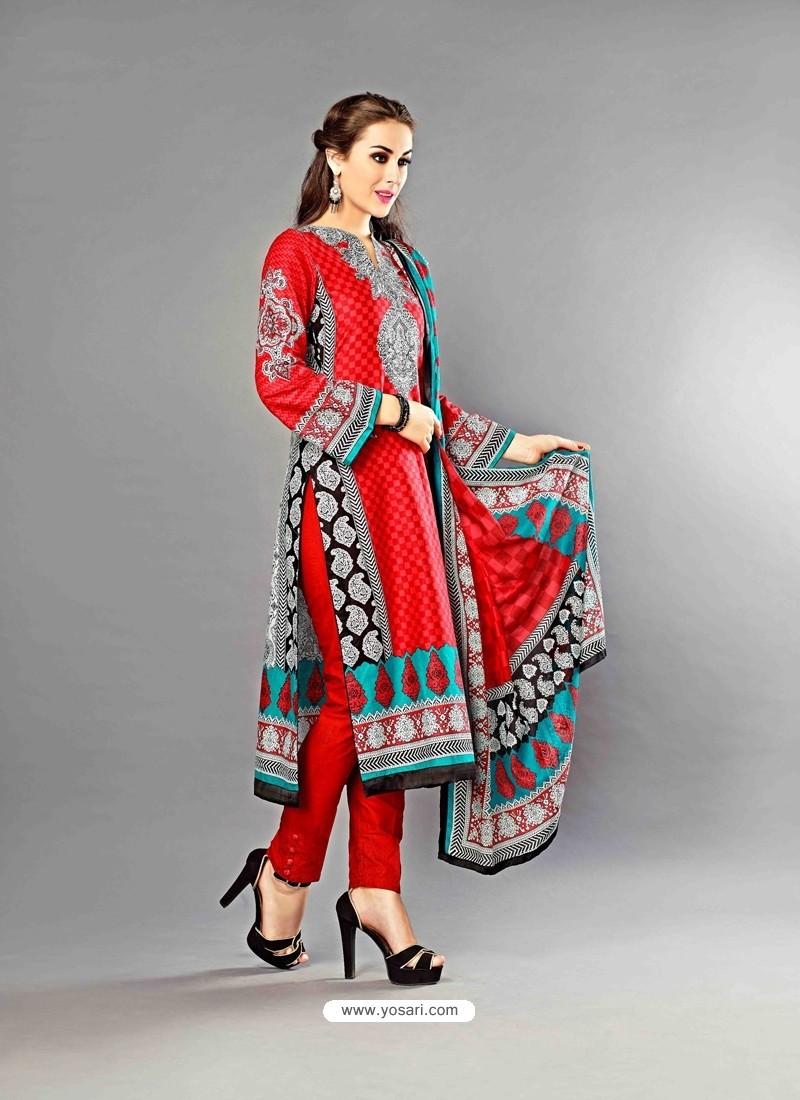 Red Lawn Cotton Salwar Kameez
