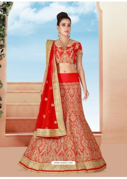 Lovely Red Embroidered Lehenga Choli