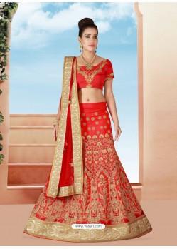 Dazzling Red Art Silk Embroidered Lehenga Choli