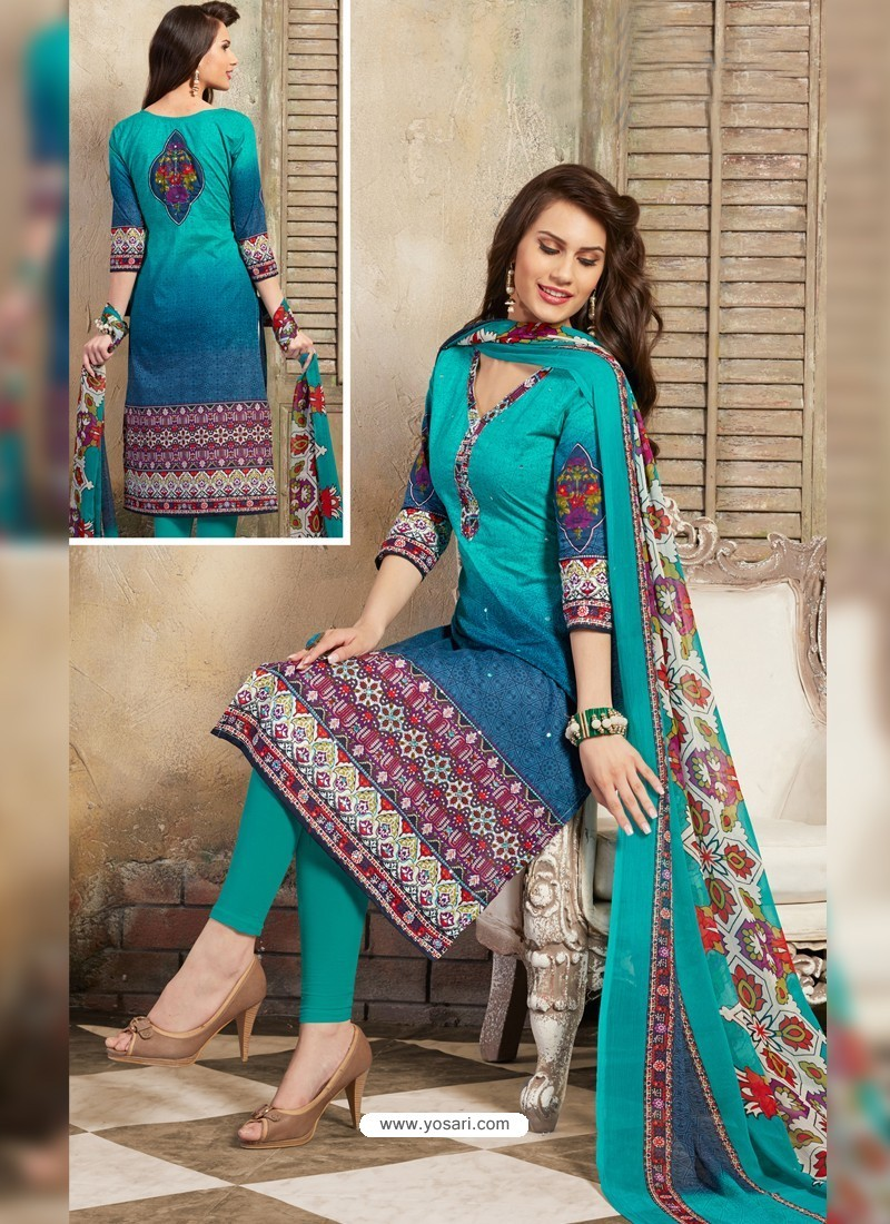 8999c522b3 Buy Turquoise Pure Cotton Print Suit | Straight Salwar Suits